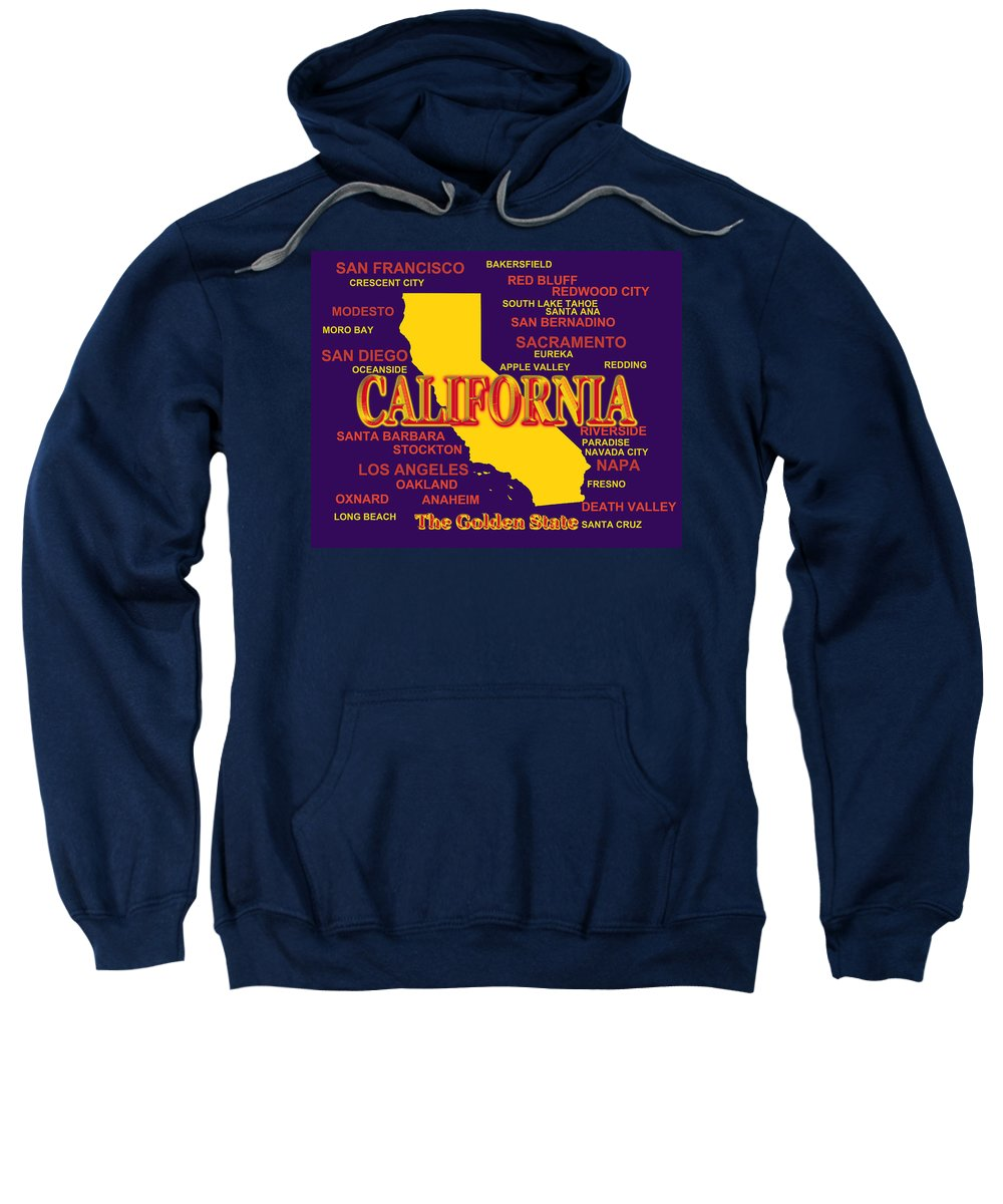 California Sweatshirt featuring the photograph California State Pride Map Silhouette by Keith Webber Jr