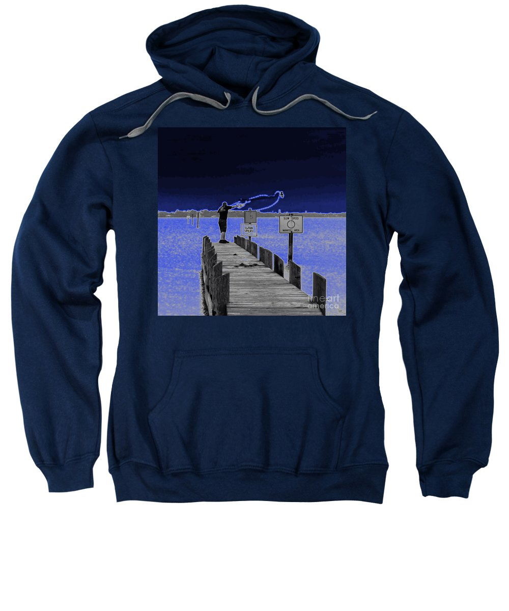 Casting Sweatshirt featuring the photograph Casting His Net by Allan Hughes