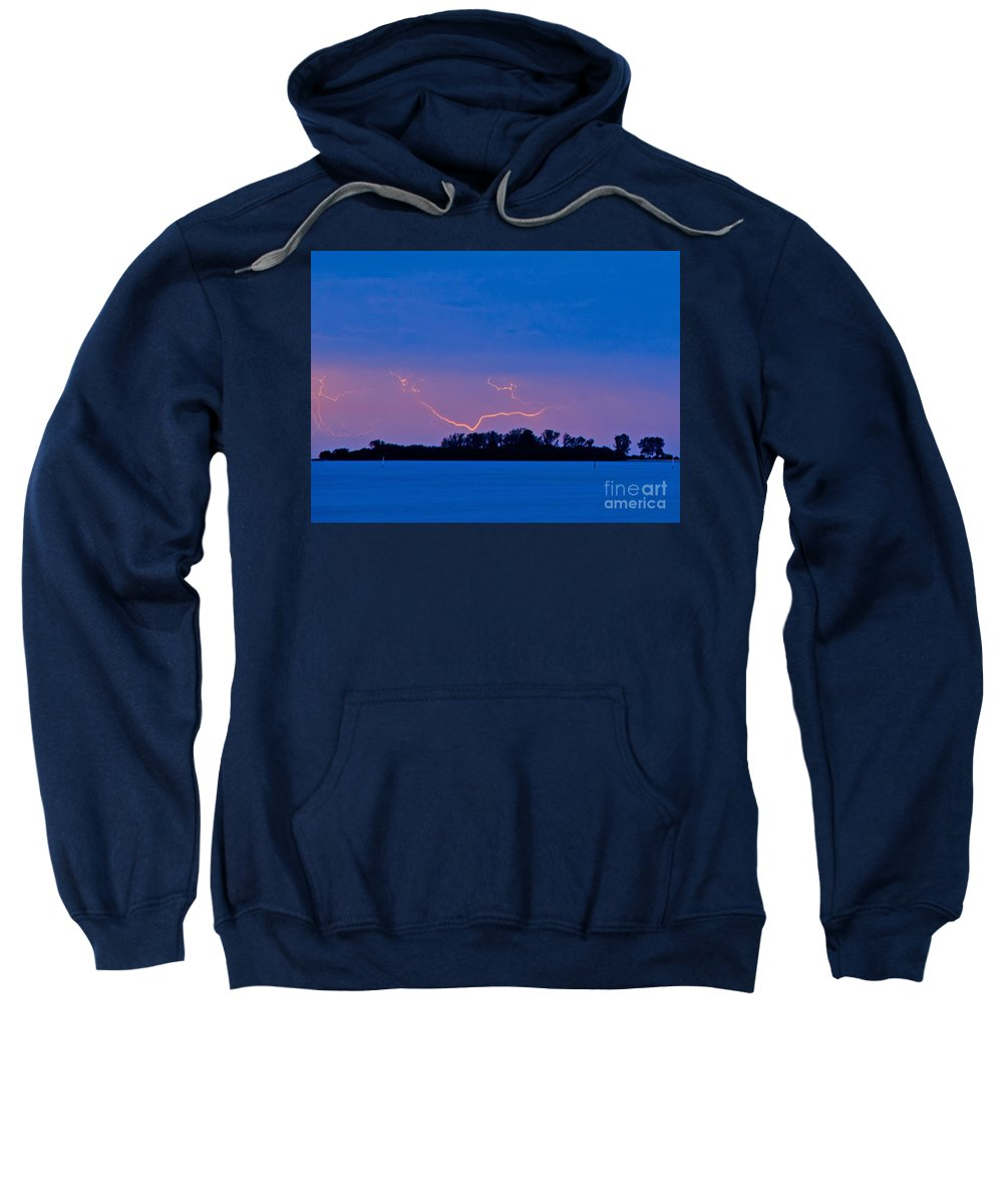 Florida Sweatshirt featuring the photograph Distant Lightning by Stephen Whalen