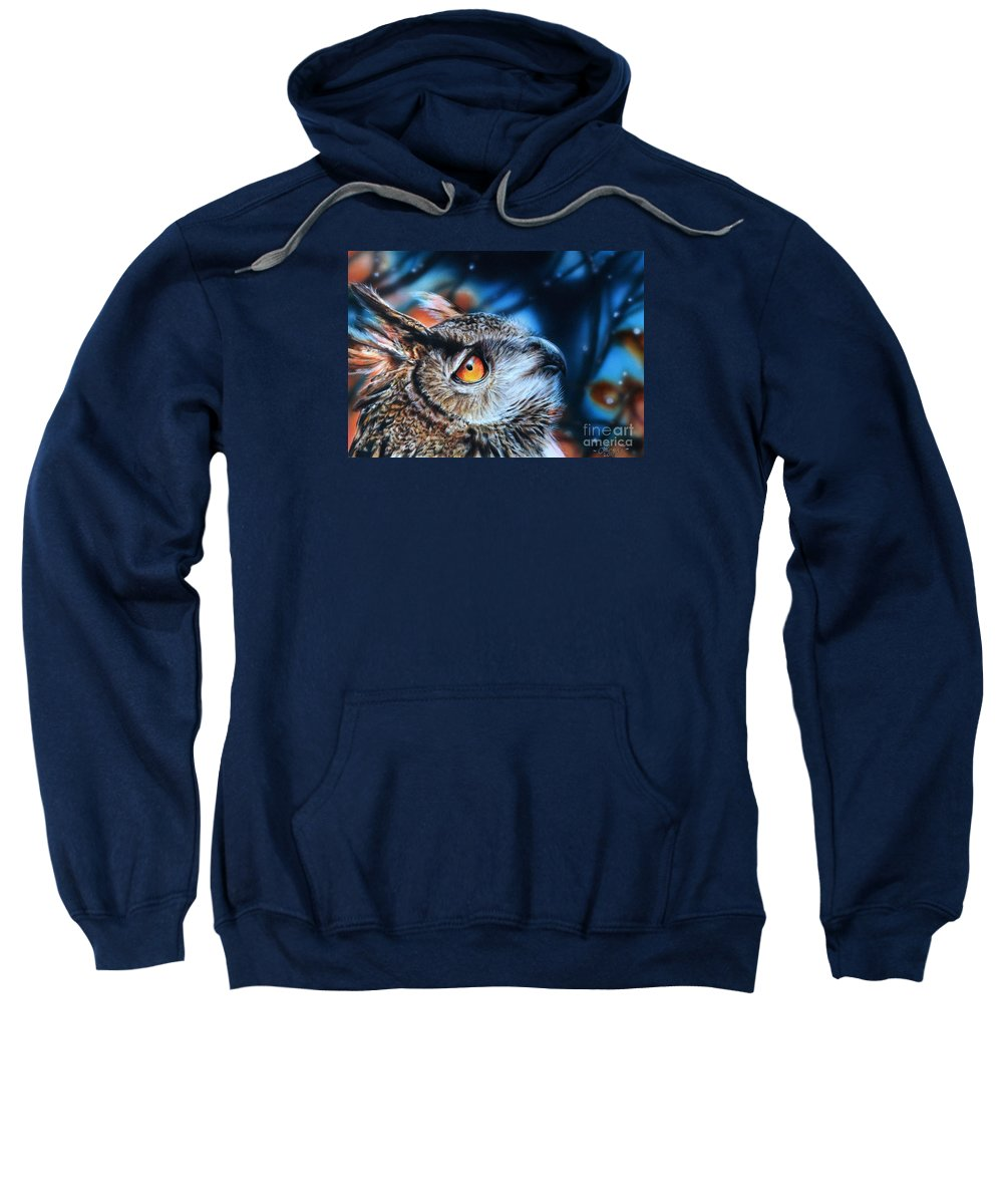 Eagle Owl Sweatshirt featuring the painting Twilight by Lachri