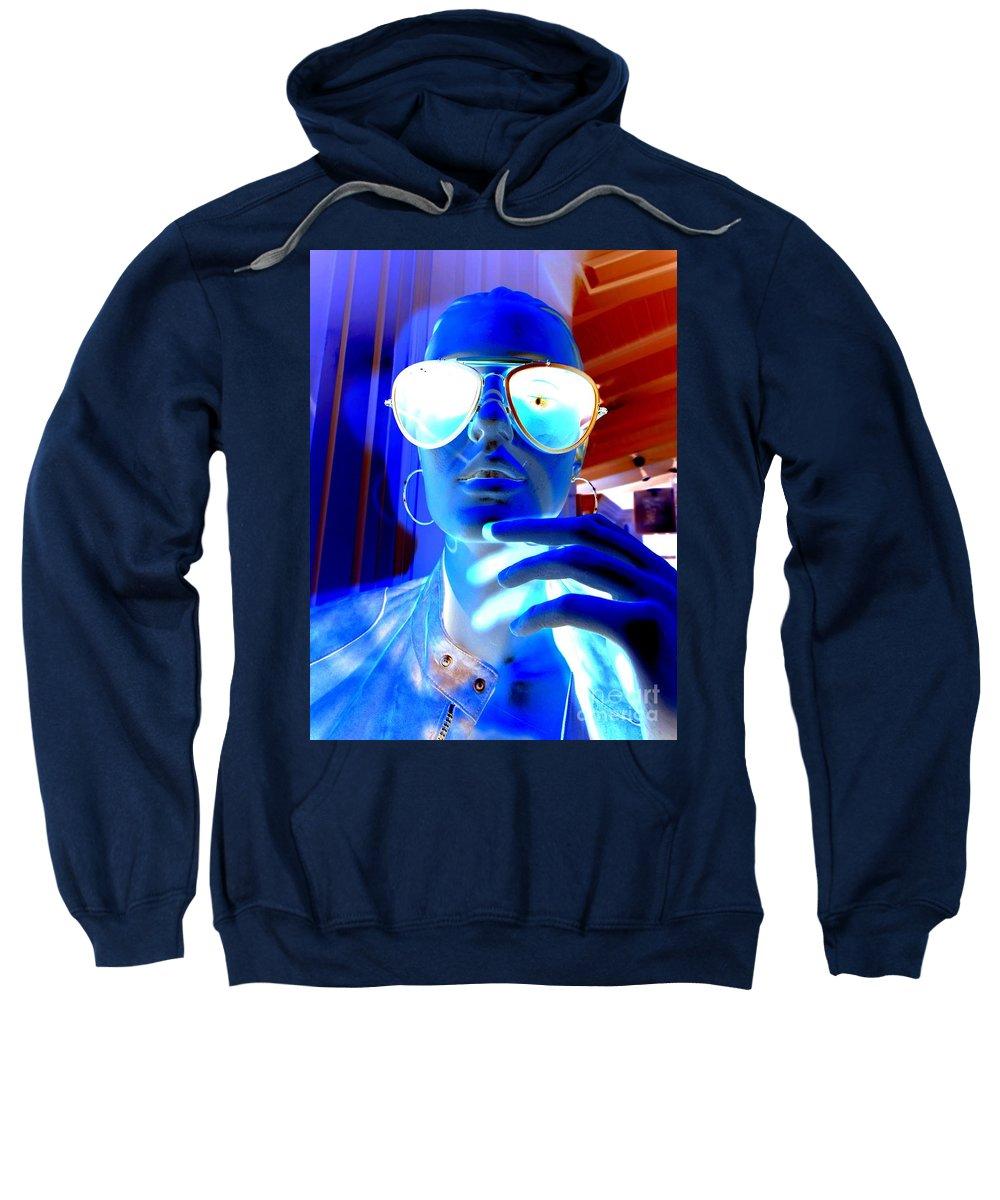 Mannequin Sweatshirt featuring the digital art Feelin Blue by Ed Weidman