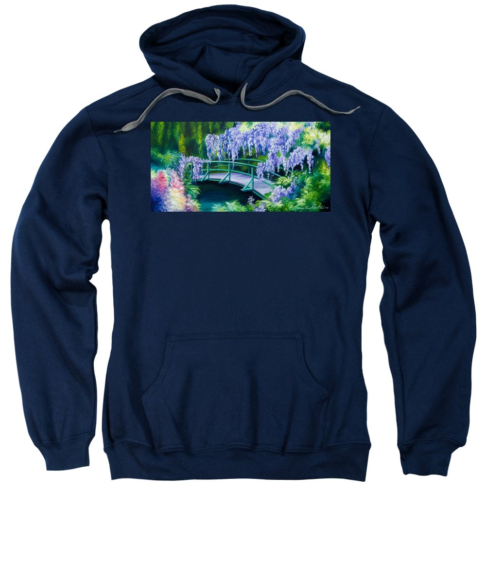 Bright Clouds Sweatshirt featuring the painting Gardens of Givernia II by James Christopher Hill