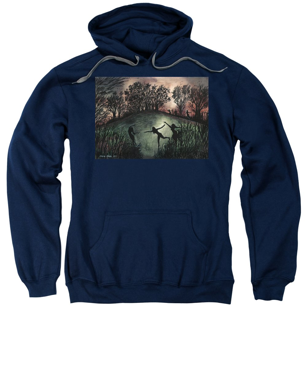 Sacred Sweatshirt featuring the painting Moonlight Dance by Emma Childs