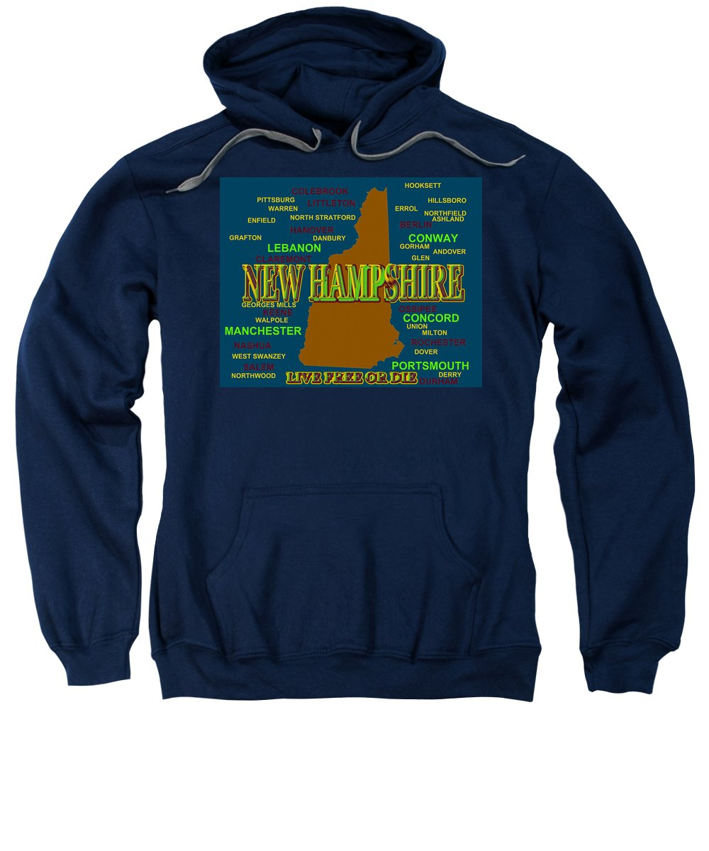 New Hampshire Sweatshirt featuring the photograph New Hampshire State Pride Map Silhouette by Keith Webber Jr