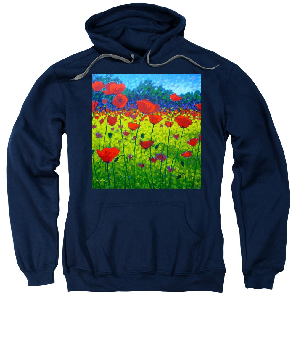 Flowers Sweatshirt featuring the painting Poppy Field by John Nolan
