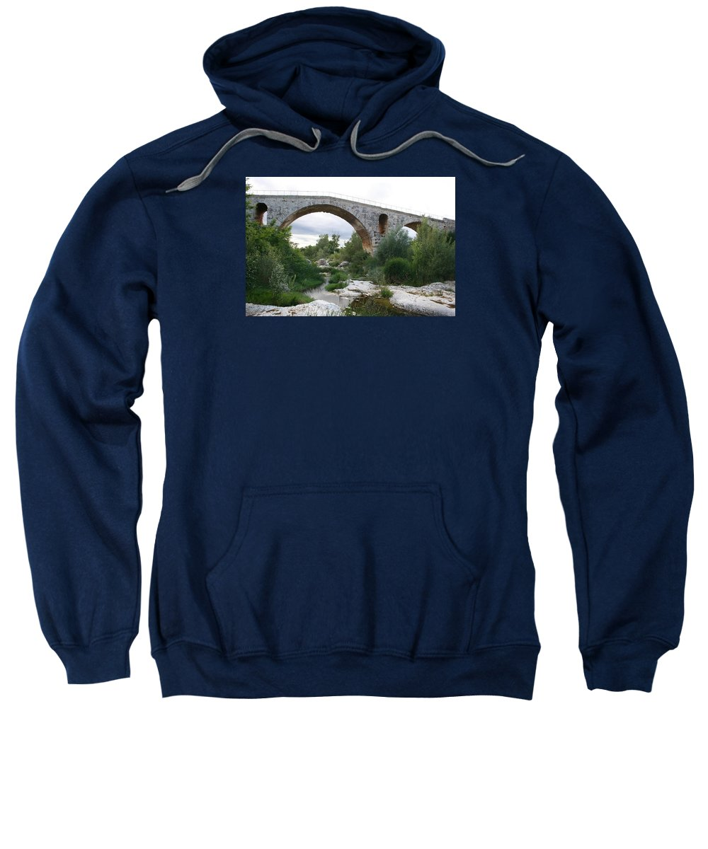 Roman Stonebridge Sweatshirt featuring the photograph Roman Arch Bridge Pont St. Julien by Christiane Schulze Art And Photography