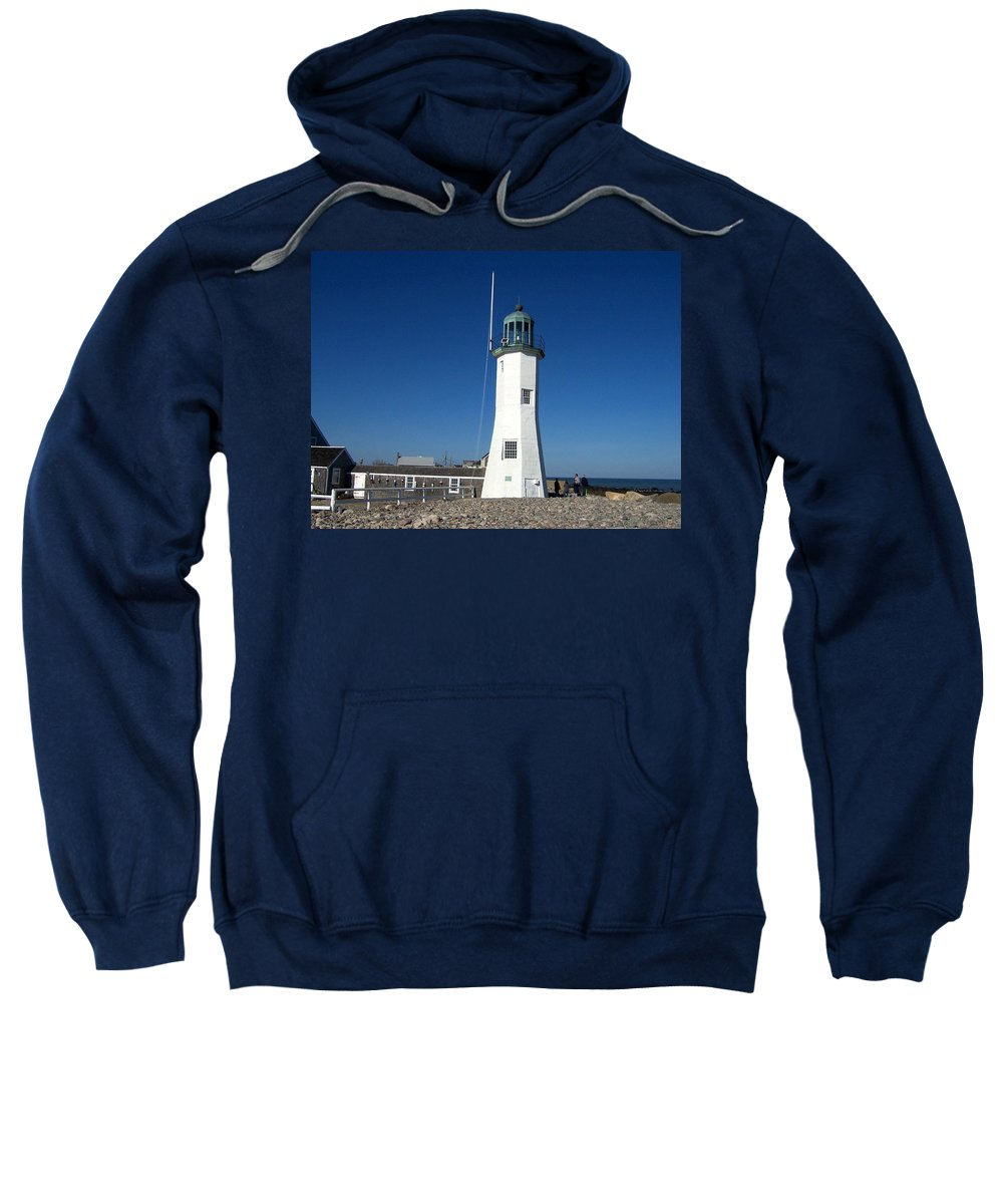 Scituate Sweatshirt featuring the photograph Scituate Lighthouse by Catherine Gagne