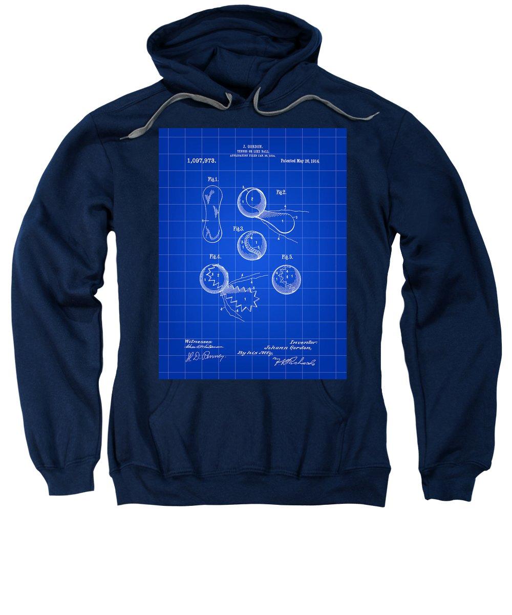 Tennis Sweatshirt featuring the digital art Tennis Ball Patent 1914 - Blue by Stephen Younts