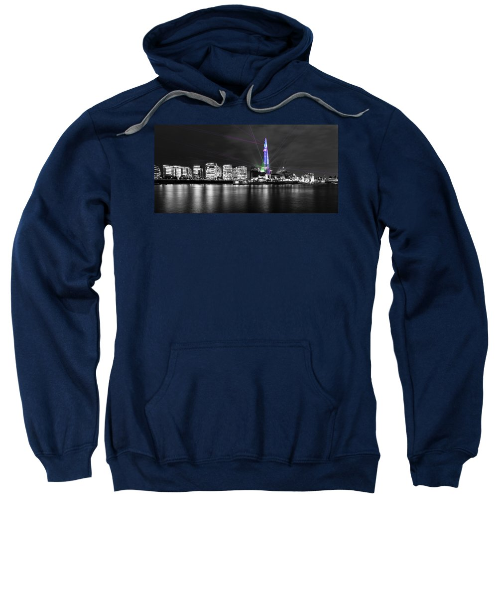 City Skyline Sweatshirt featuring the photograph The Shard Lasers by Dawn OConnor