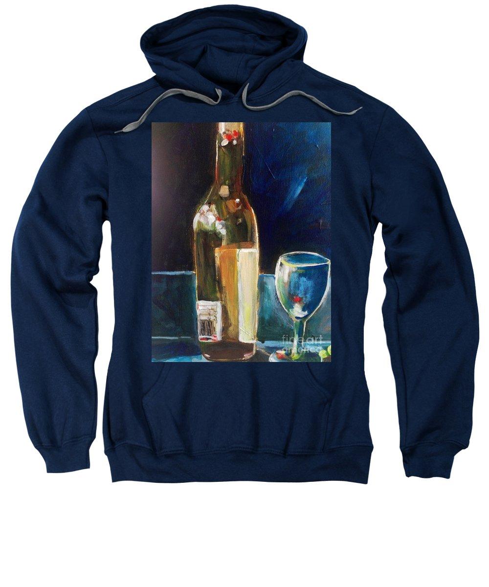 Vintage Wine Sweatshirt featuring the painting Wedding Cake Wine Night by Sherry Harradence