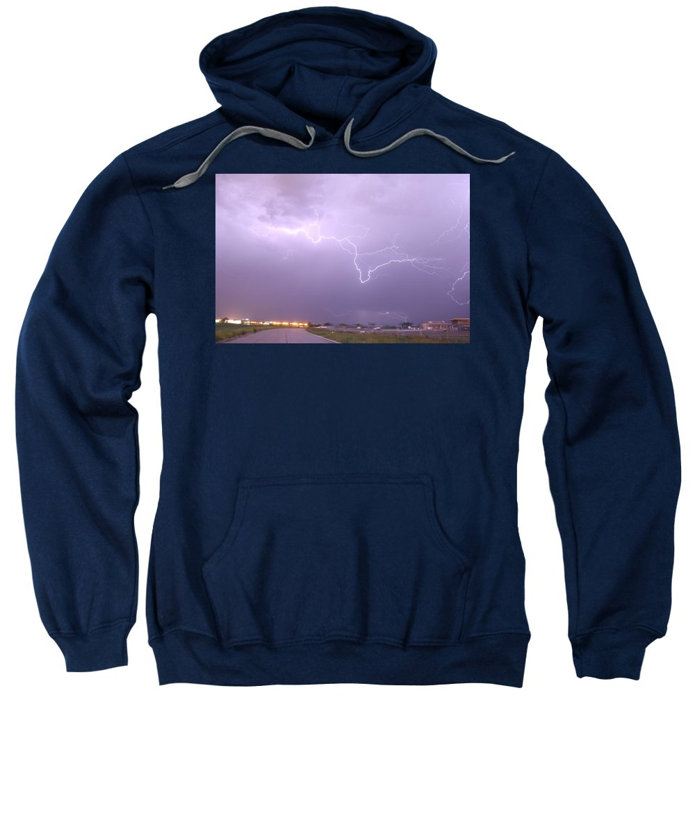 Stormscape Sweatshirt featuring the photograph Nebraska Cells Redevloping Over South Central Nebraska by NebraskaSC