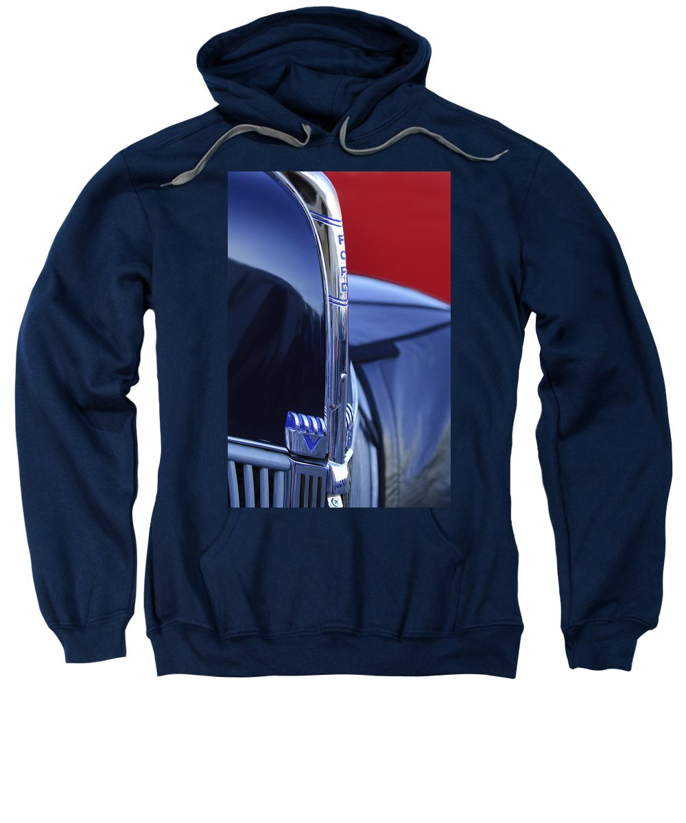 1940 Ford Sweatshirt featuring the photograph 1940 Ford Hood Ornament 2 by Jill Reger