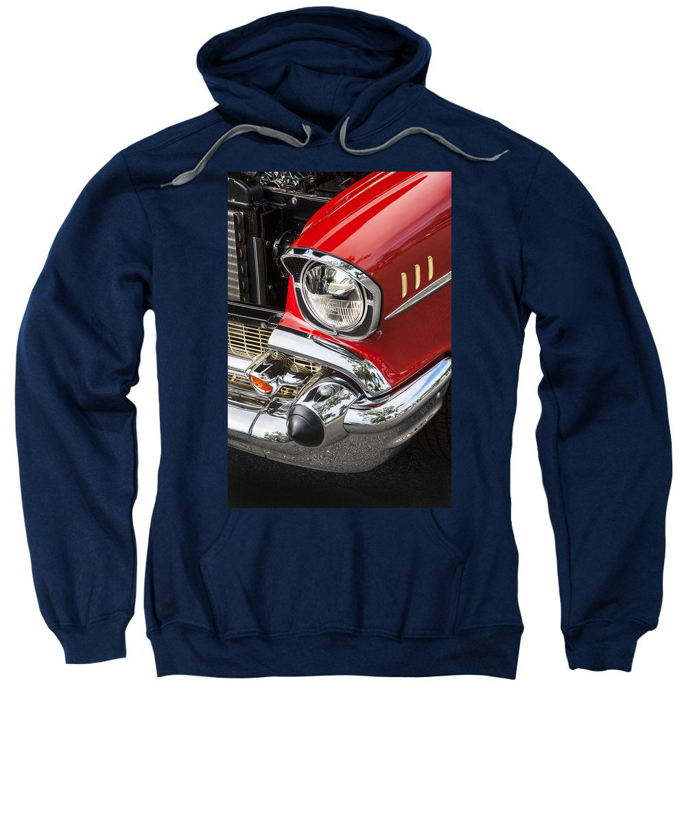 1957 Chevy Sweatshirt featuring the photograph 1957 Chevy Bel Air Headlight by Rich Franco