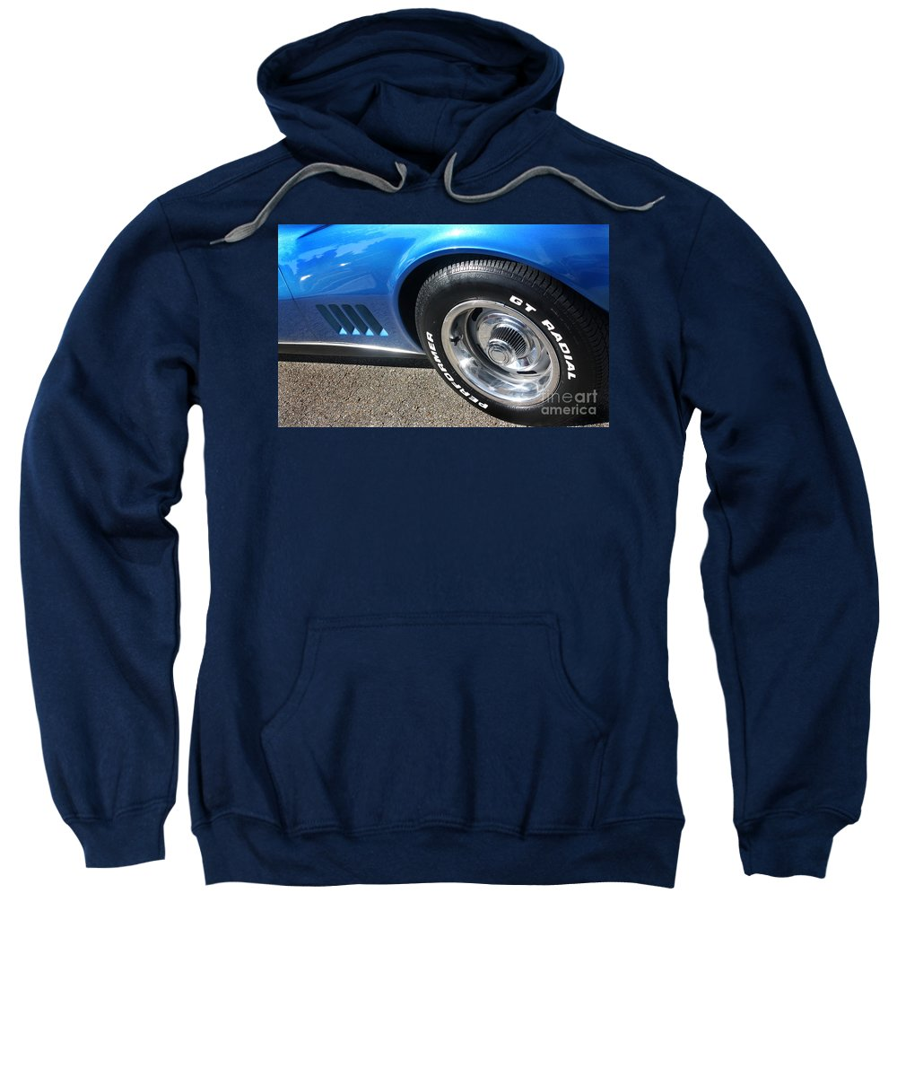 1968 Sweatshirt featuring the photograph 1968 Corvette Sting Ray - Blue - Side - 8923 by Gary Gingrich Galleries