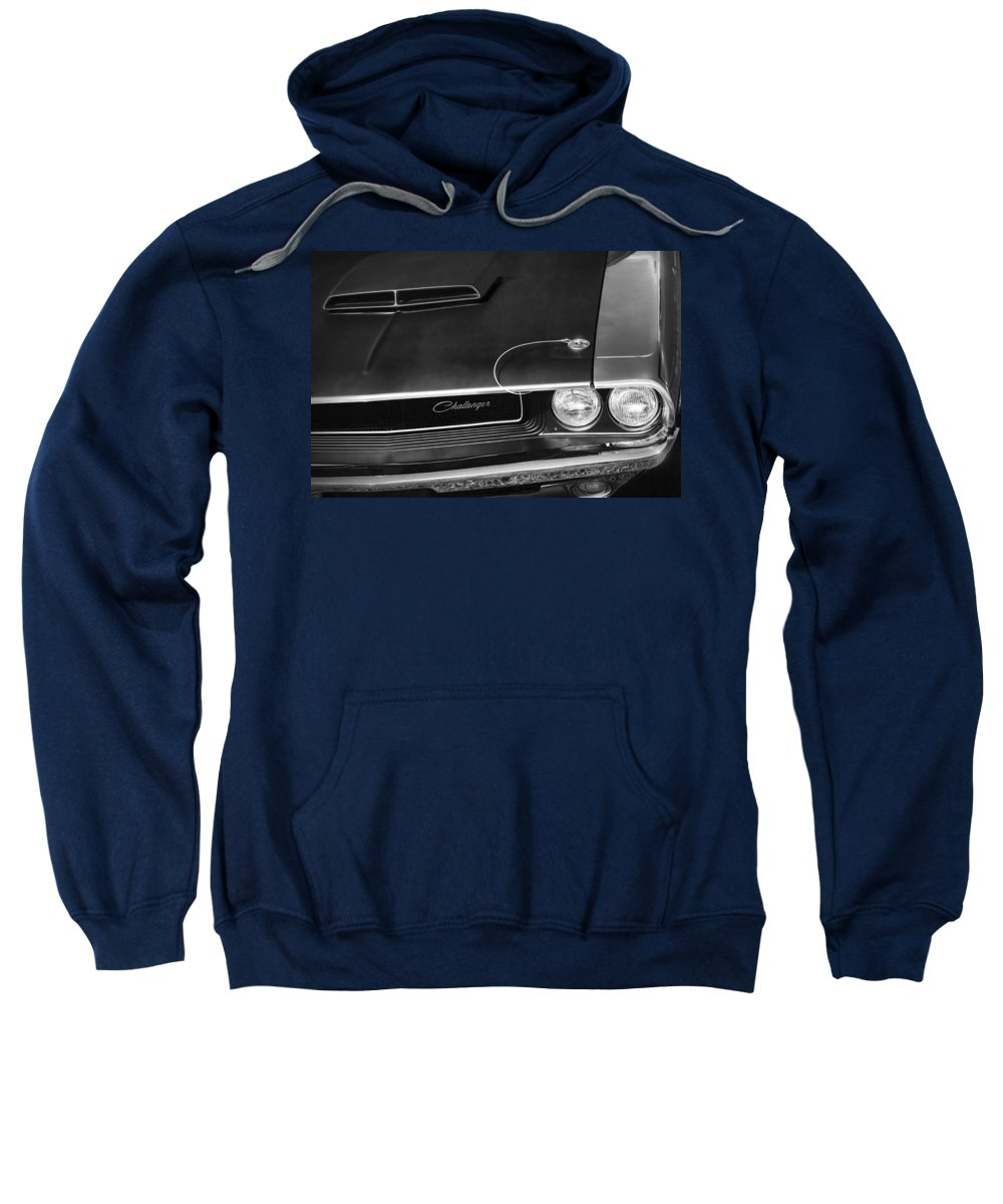 1970 Sweatshirt featuring the photograph 1970 Dodge Challenger T/a In Black And White by Gordon Dean II