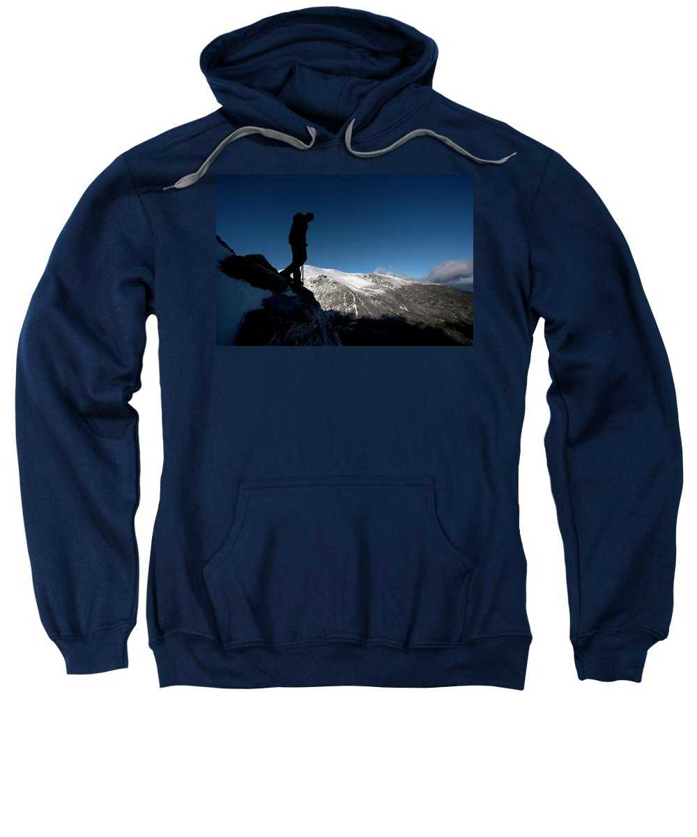 30s Sweatshirt featuring the photograph A Man Hikes The Boott Spur Link by Jose Azel
