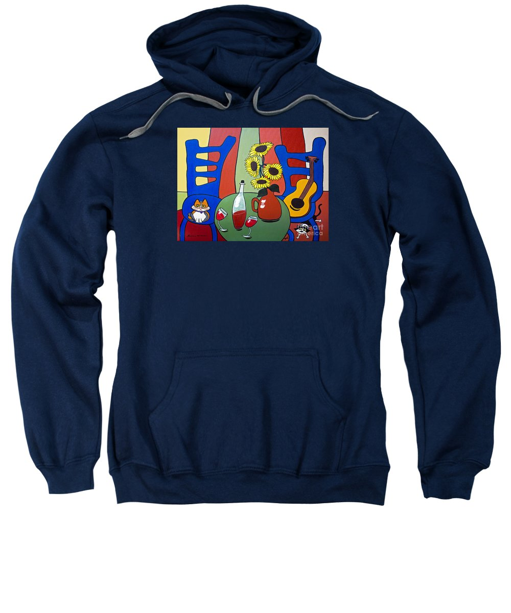 Cat Sweatshirt featuring the painting Oreo by Barbara McMahon
