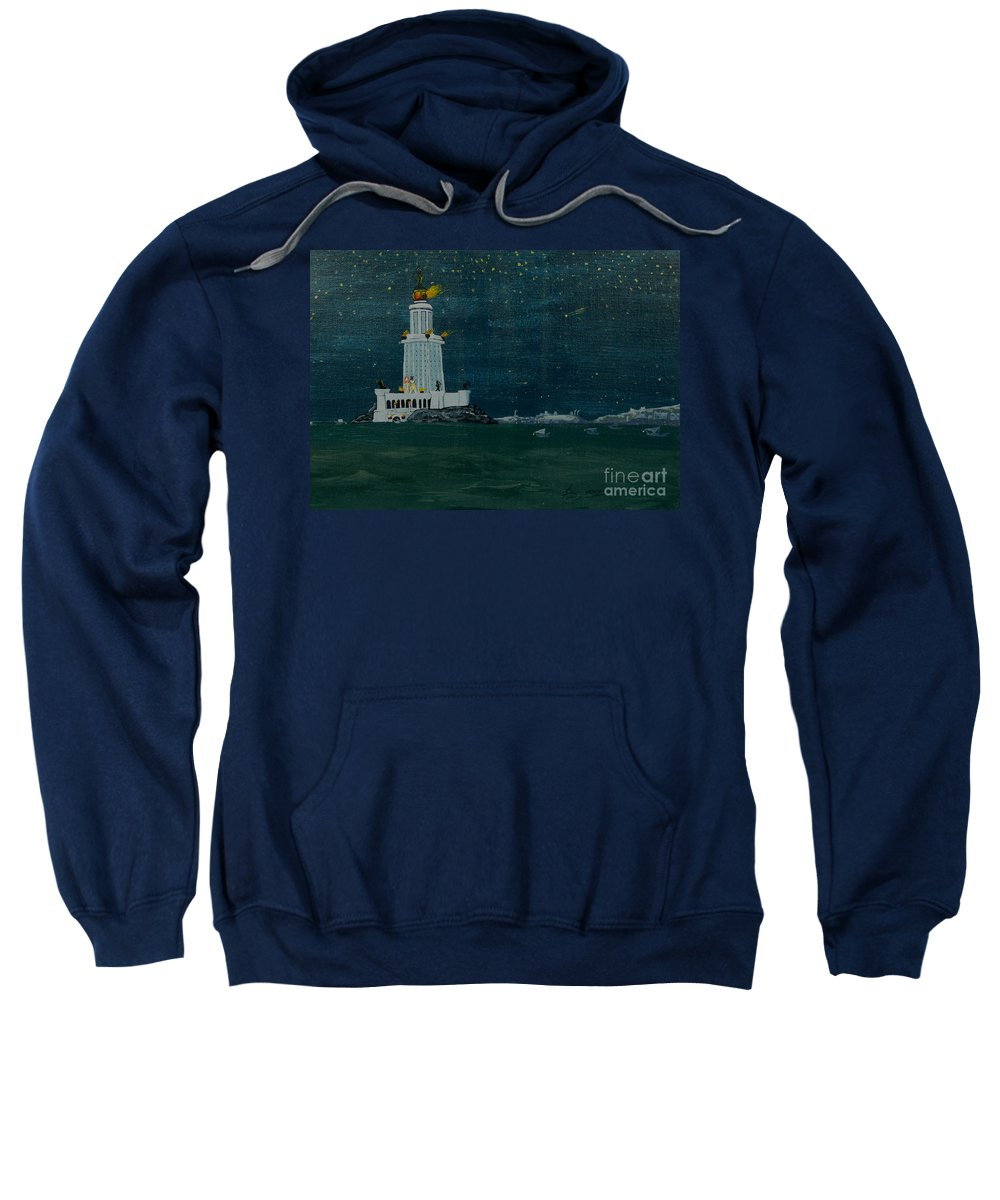 Pharos Sweatshirt featuring the painting Pharos Lighthouse by Anthony Dunphy