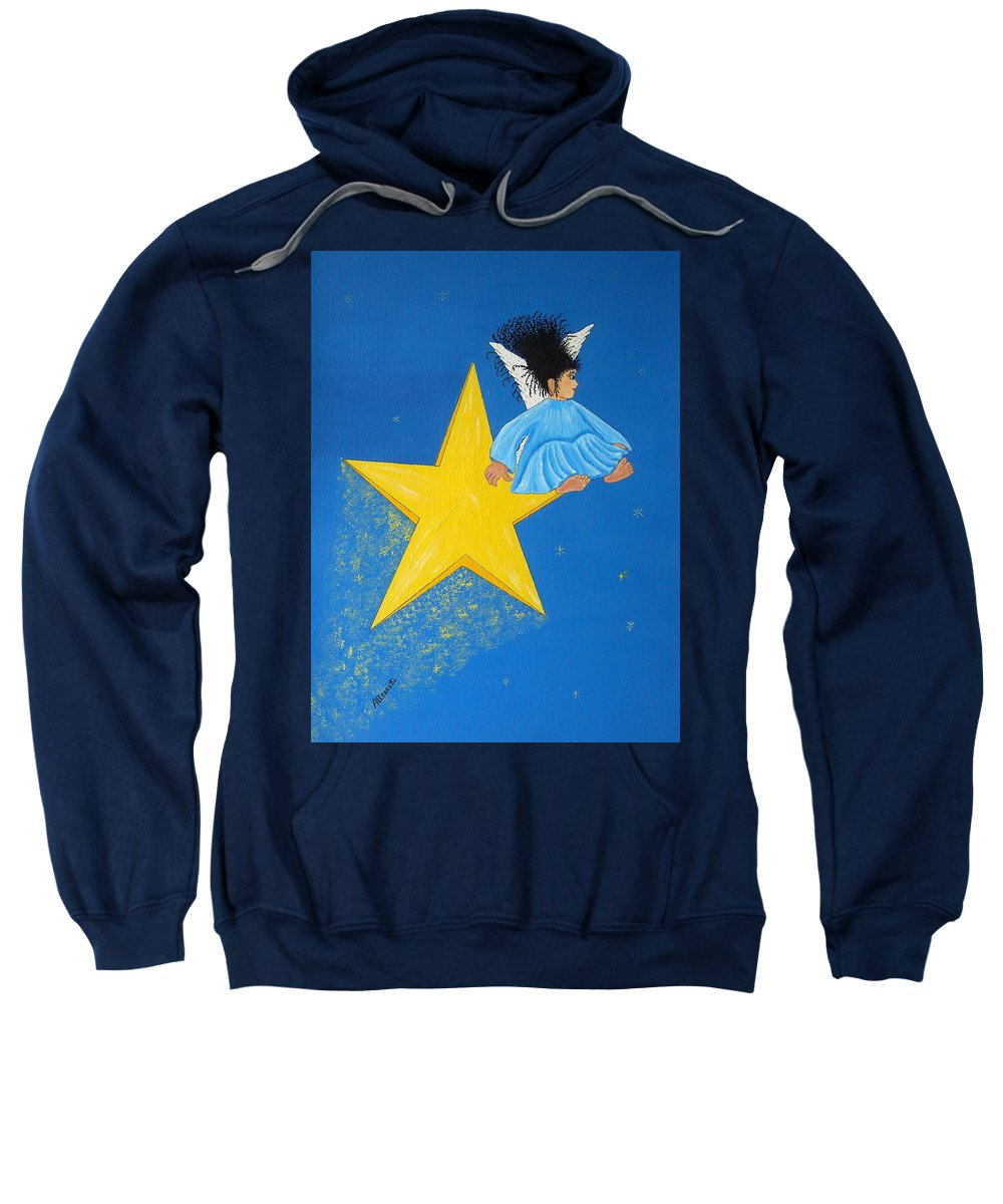 Allegretto Art Sweatshirt featuring the painting Ride A Shooting Star by Pamela Allegretto