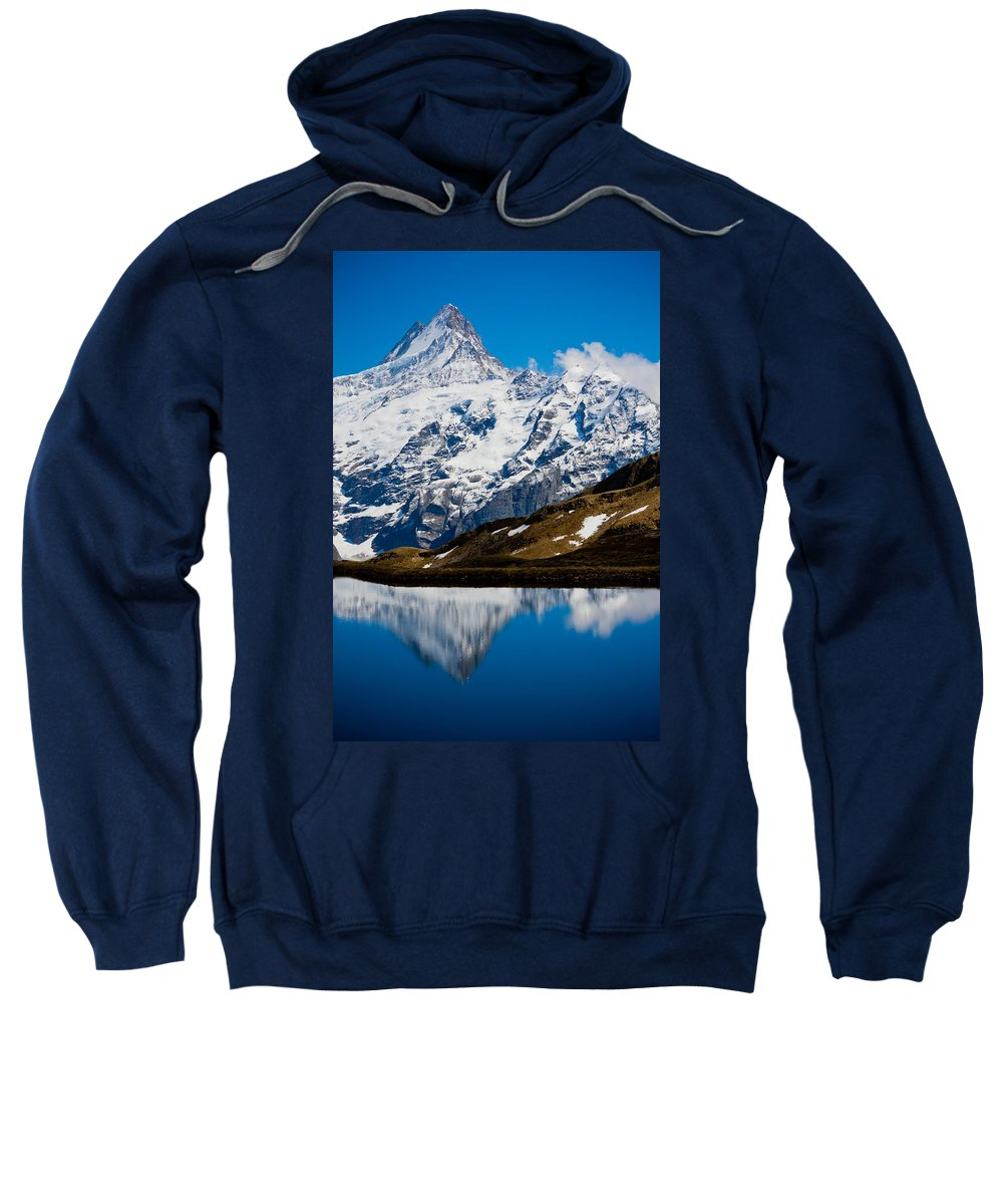 Alps Sweatshirt featuring the photograph Swiss Alps - Schreckhorn Reflection by Anthony Doudt