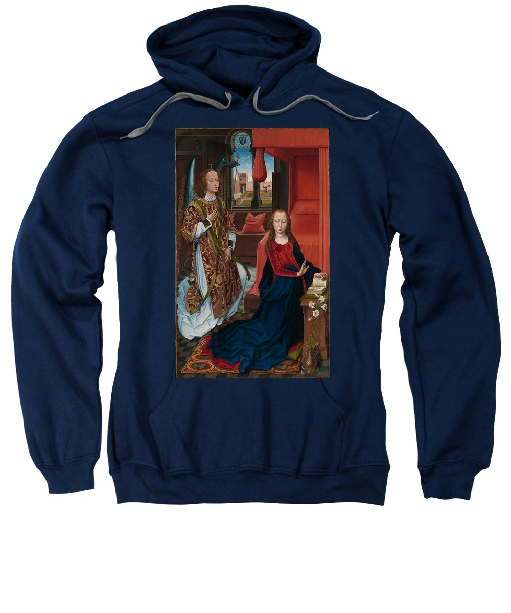 Hans Memling Sweatshirt featuring the painting The Annunciation by Hans Memling