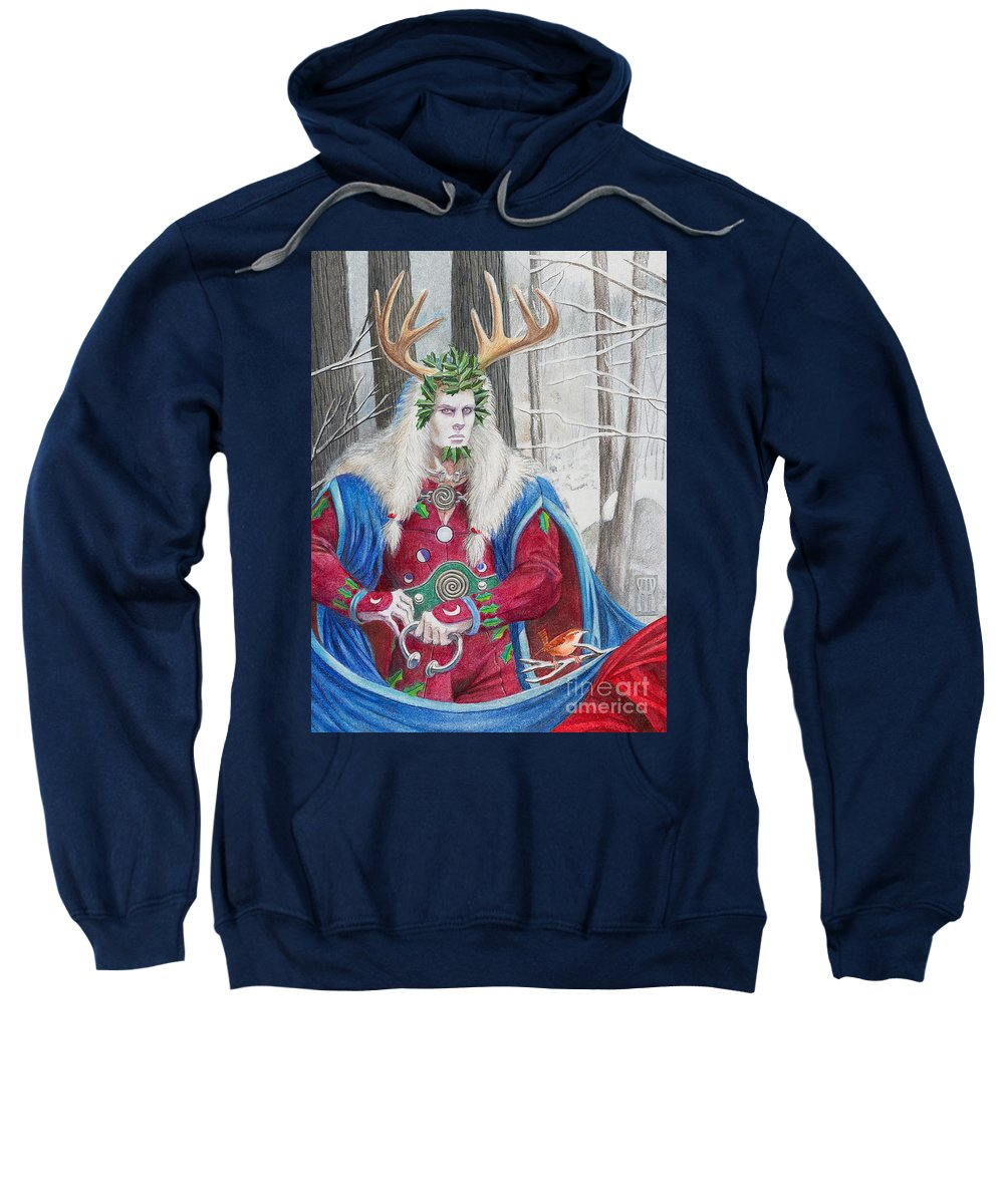 Pagan Sweatshirt featuring the painting The Holly King by Melissa A Benson