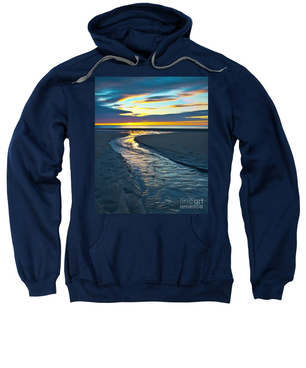 Wells Beach Sweatshirt featuring the photograph Wells Beach Maine Sunrise by Glenn Gordon