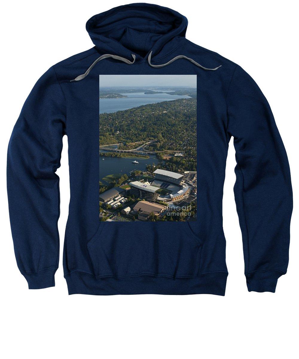 Husky Stadium Sweatshirt featuring the photograph Aerial View Of The New Husky Stadium by Jim Corwin