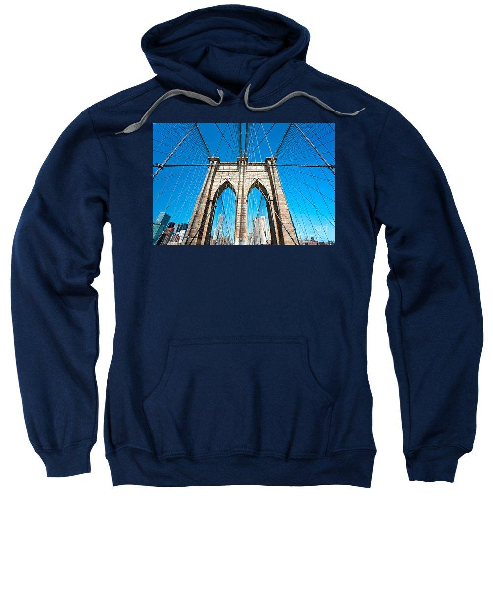 America Sweatshirt featuring the photograph Brooklyn Bridge - New York City by Luciano Mortula