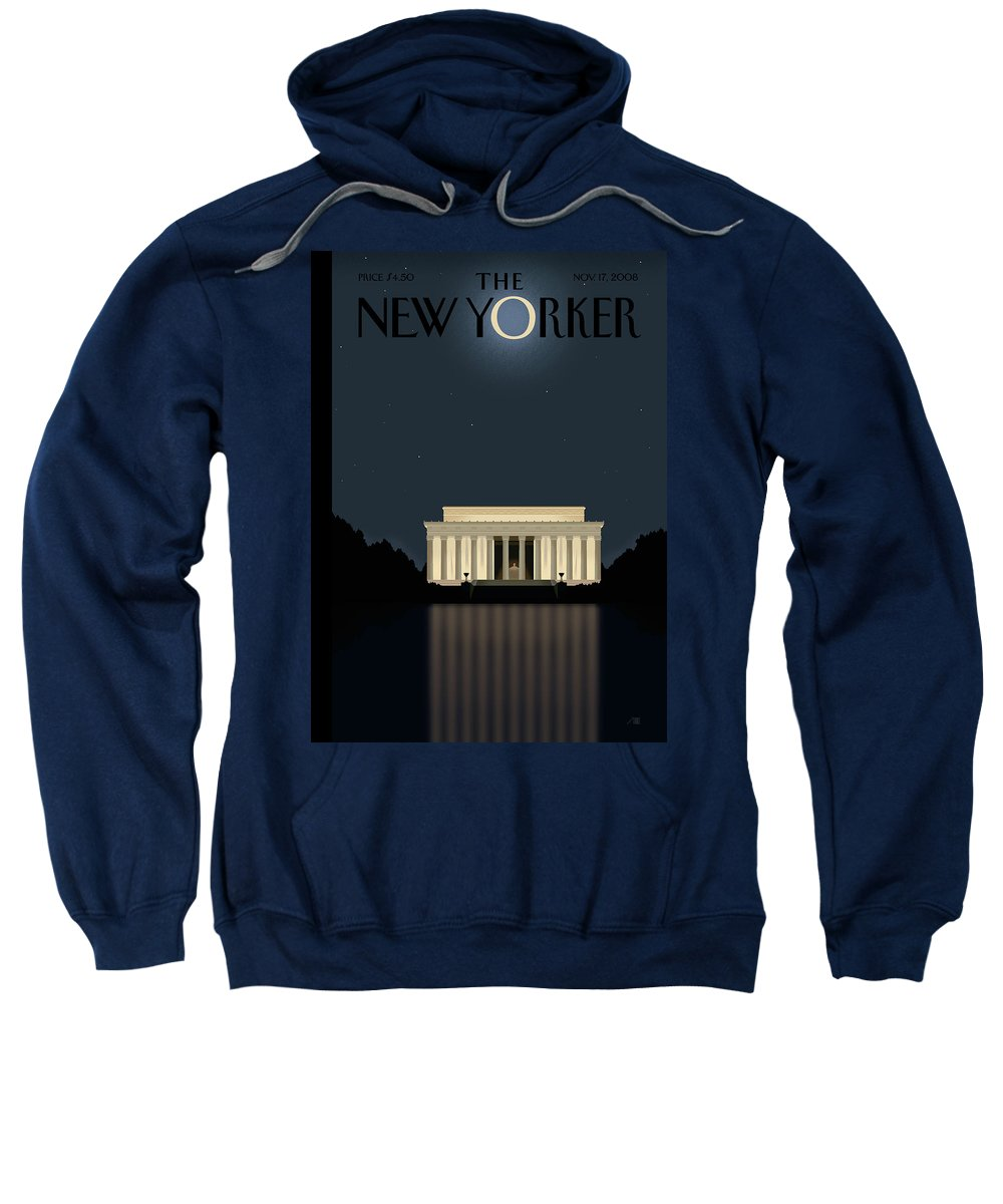 Lincoln Sweatshirt featuring the painting New Yorker November 17th, 2008 by Bob Staake