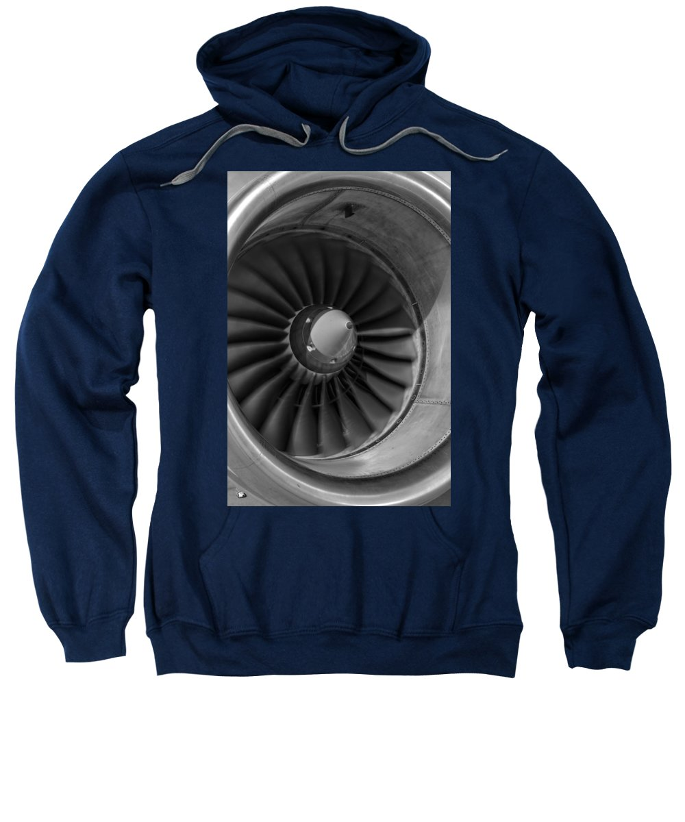 Jet Sweatshirt featuring the photograph 757 Engine Black And White by Ricky Barnard