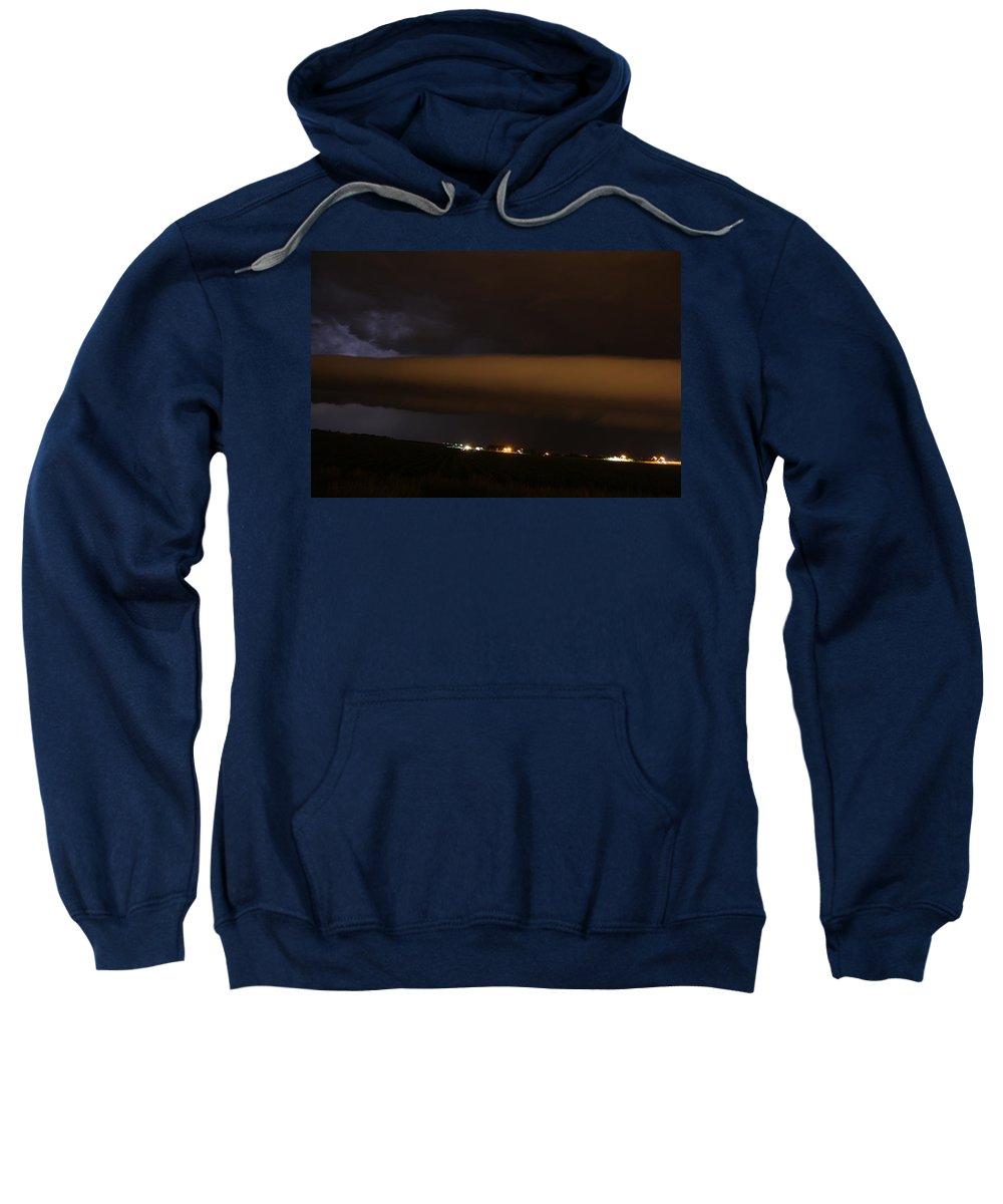 Stormscape Sweatshirt featuring the photograph Nebraska Roll Cloud A Cometh by NebraskaSC