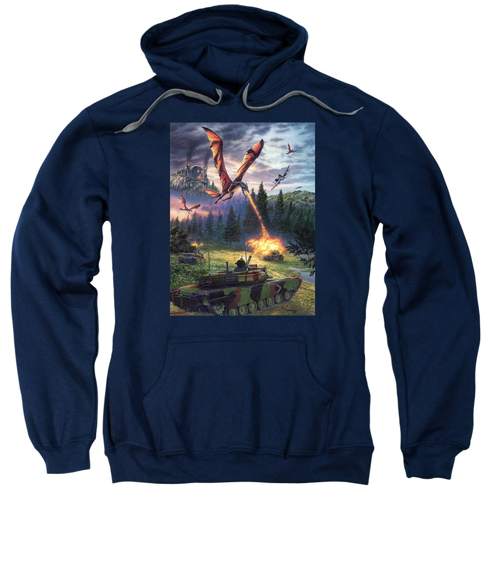 Dragon Sweatshirt featuring the painting A Clash Of Worlds by Stu Shepherd
