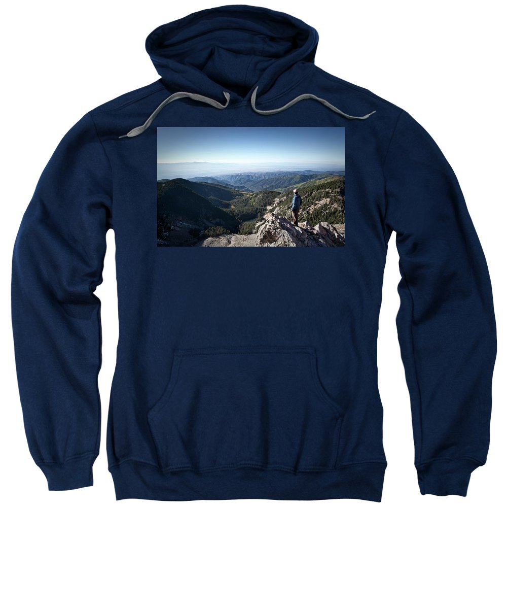 Adult Sweatshirt featuring the photograph A Hiker Looks At The View by Ryan Heffernan