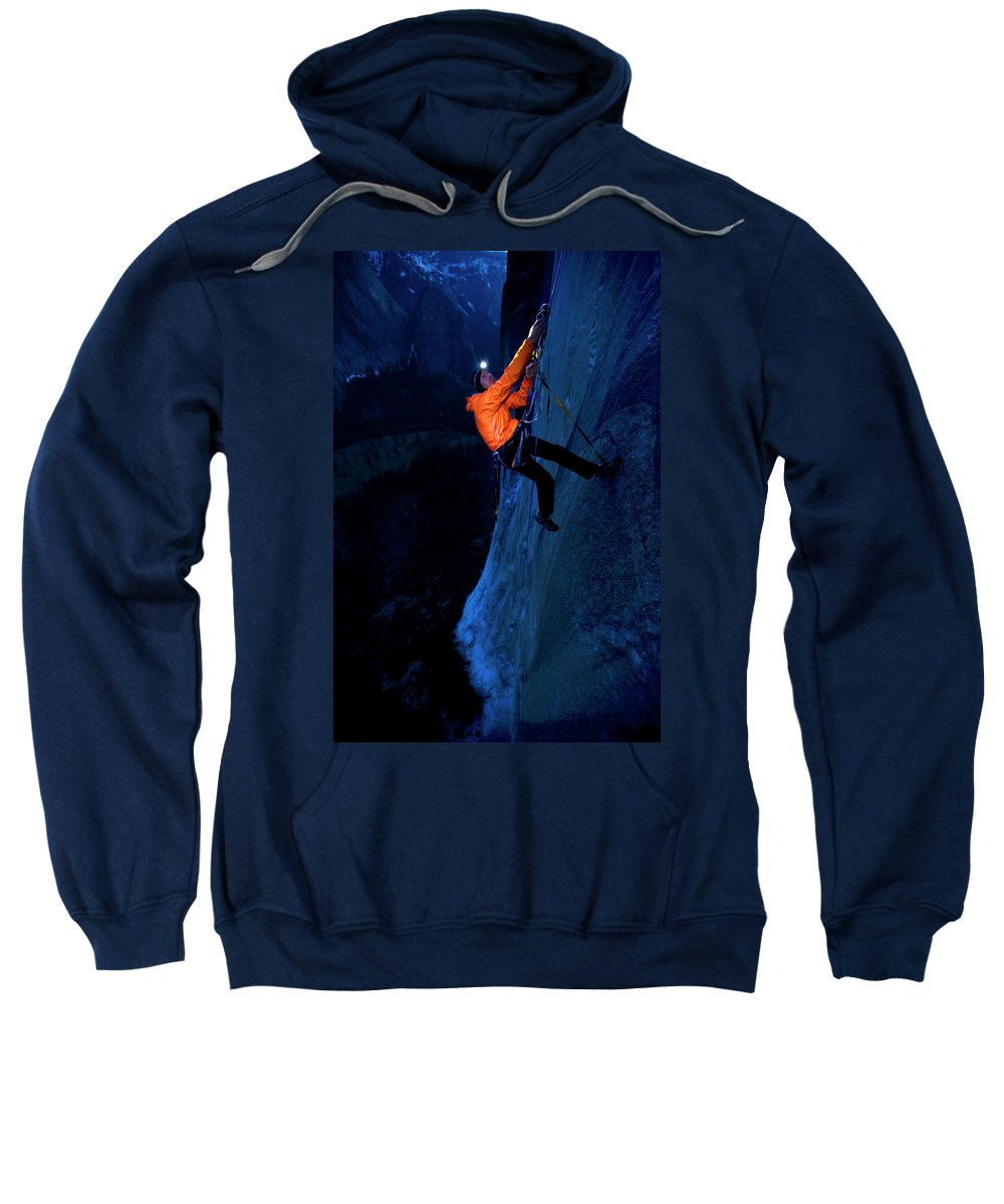 30-34 Years Sweatshirt featuring the photograph A Man Jumaring To A Route On El Cap by Corey Rich