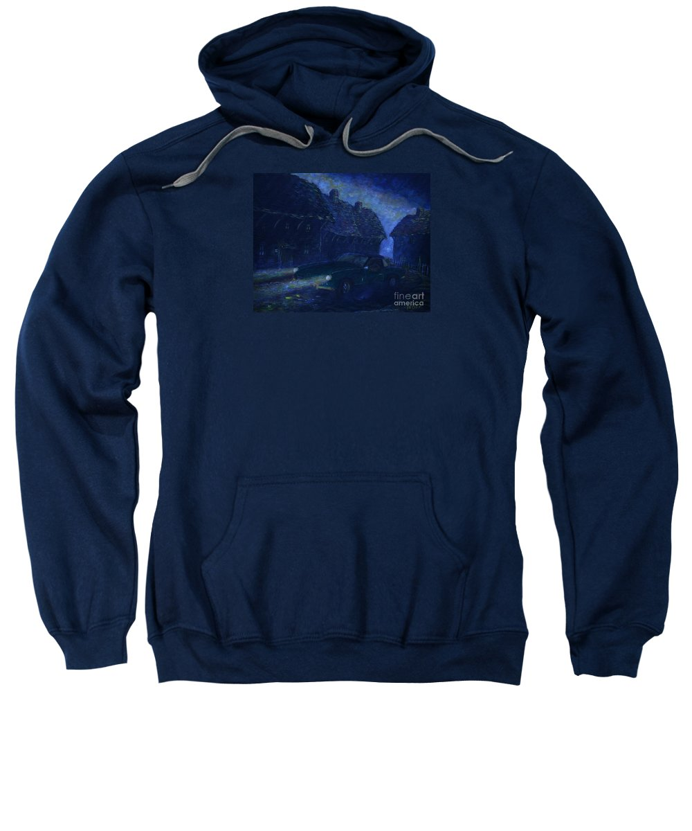 Classic Cars Sweatshirt featuring the painting A Spit On The Mountain by William Bezik