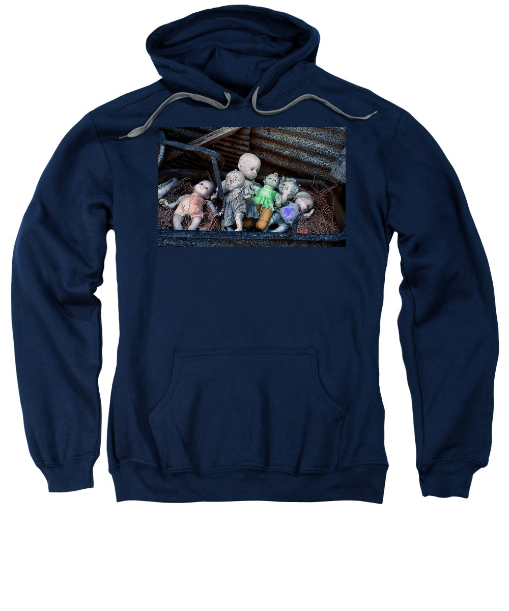 Cindy Archbell Sweatshirt featuring the photograph Abandoned Dolls by Cindy Archbell
