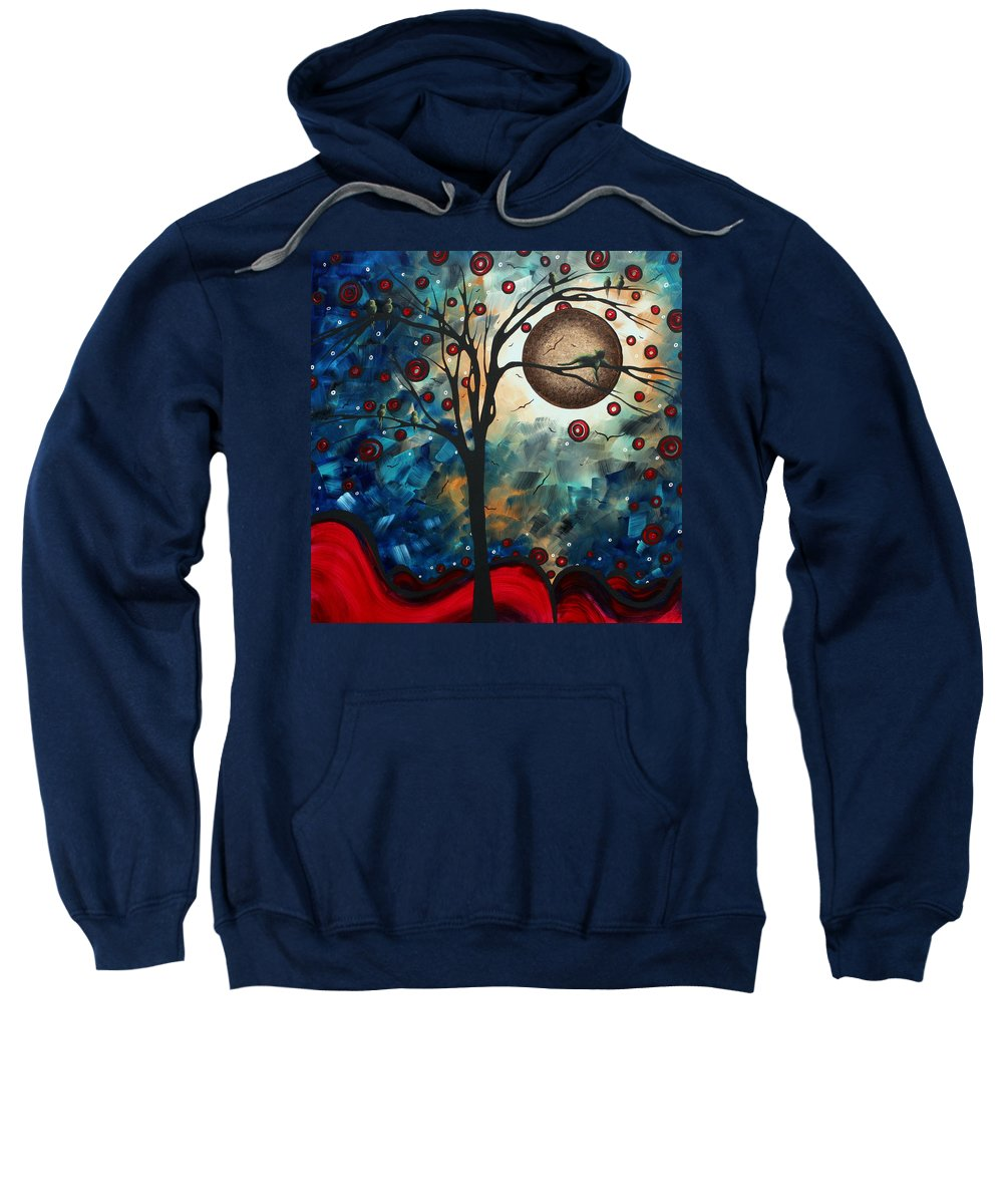 Abstract Sweatshirt featuring the painting Abstract Art Contemporary Cat Bird Circle Of Life Collection Cat Perch By Madart by Megan Duncanson