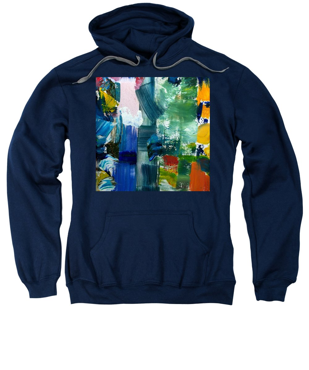 Abstract Collage Sweatshirt featuring the painting Abstract Color Relationships Lll by Michelle Calkins