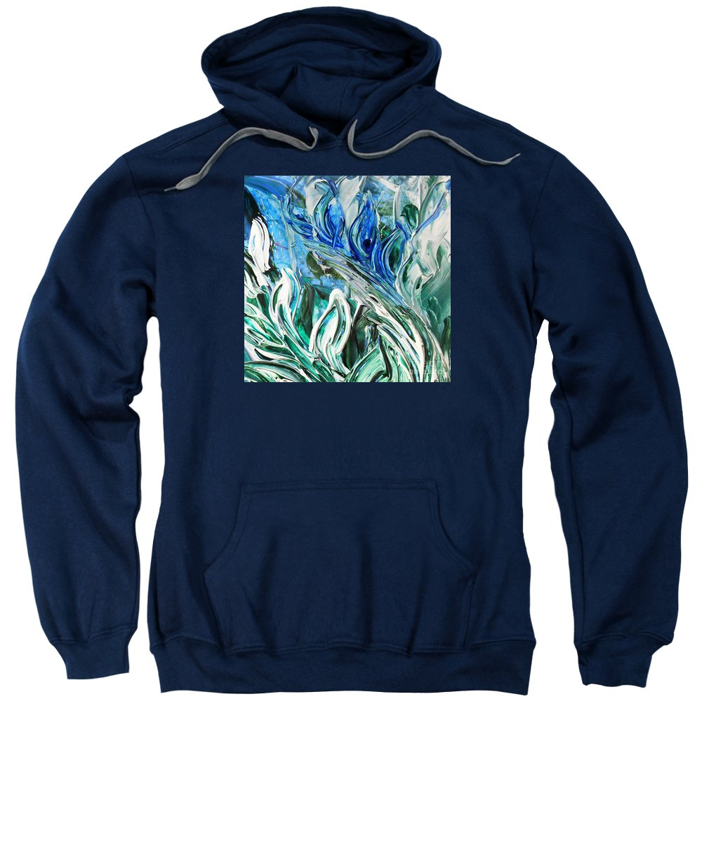 Reflection Sweatshirt featuring the painting Abstract Floral Sky Reflection by Irina Sztukowski
