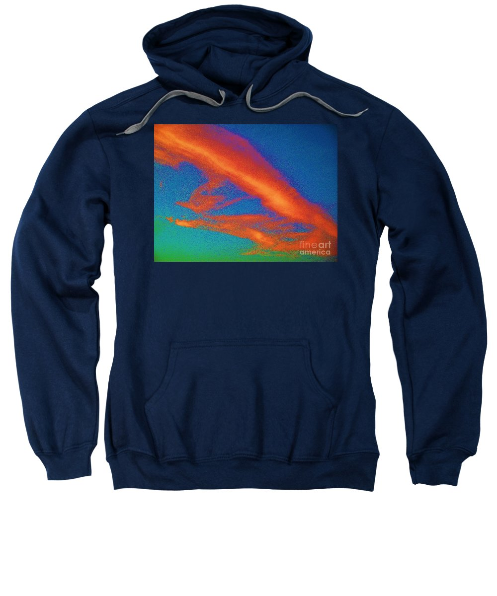 Abstract Sweatshirt featuring the photograph Abstract Red Blue And Green Sky by Eric Schiabor