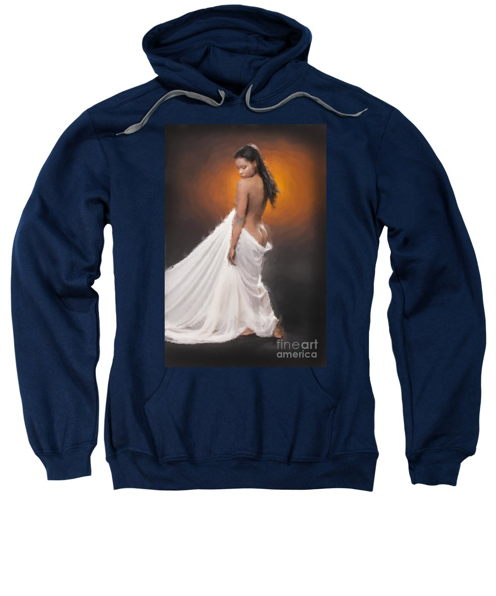 African Nude Sweatshirt featuring the photograph African Nude And White Cloth 1036.02 by Kendree Miller