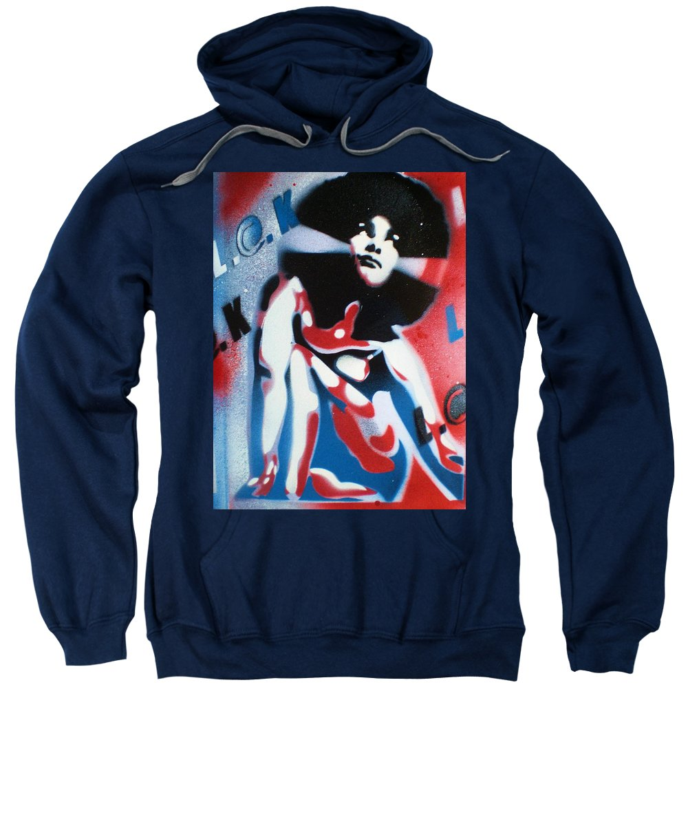 Afro Sweatshirt featuring the painting Afro America by Leon Keay