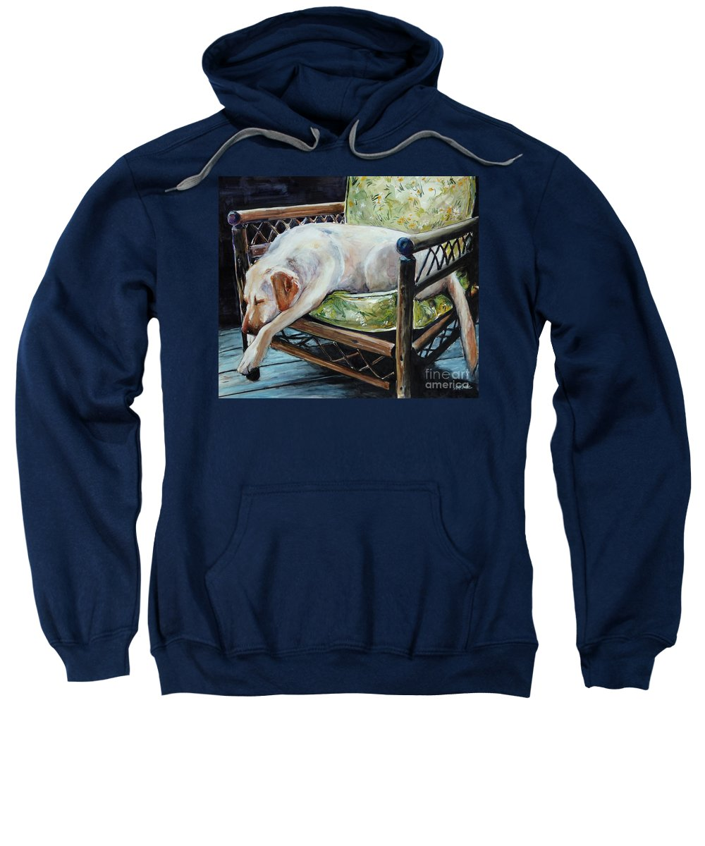Yellow Labrador Retriever Sweatshirt featuring the painting Afternoon Nap by Molly Poole