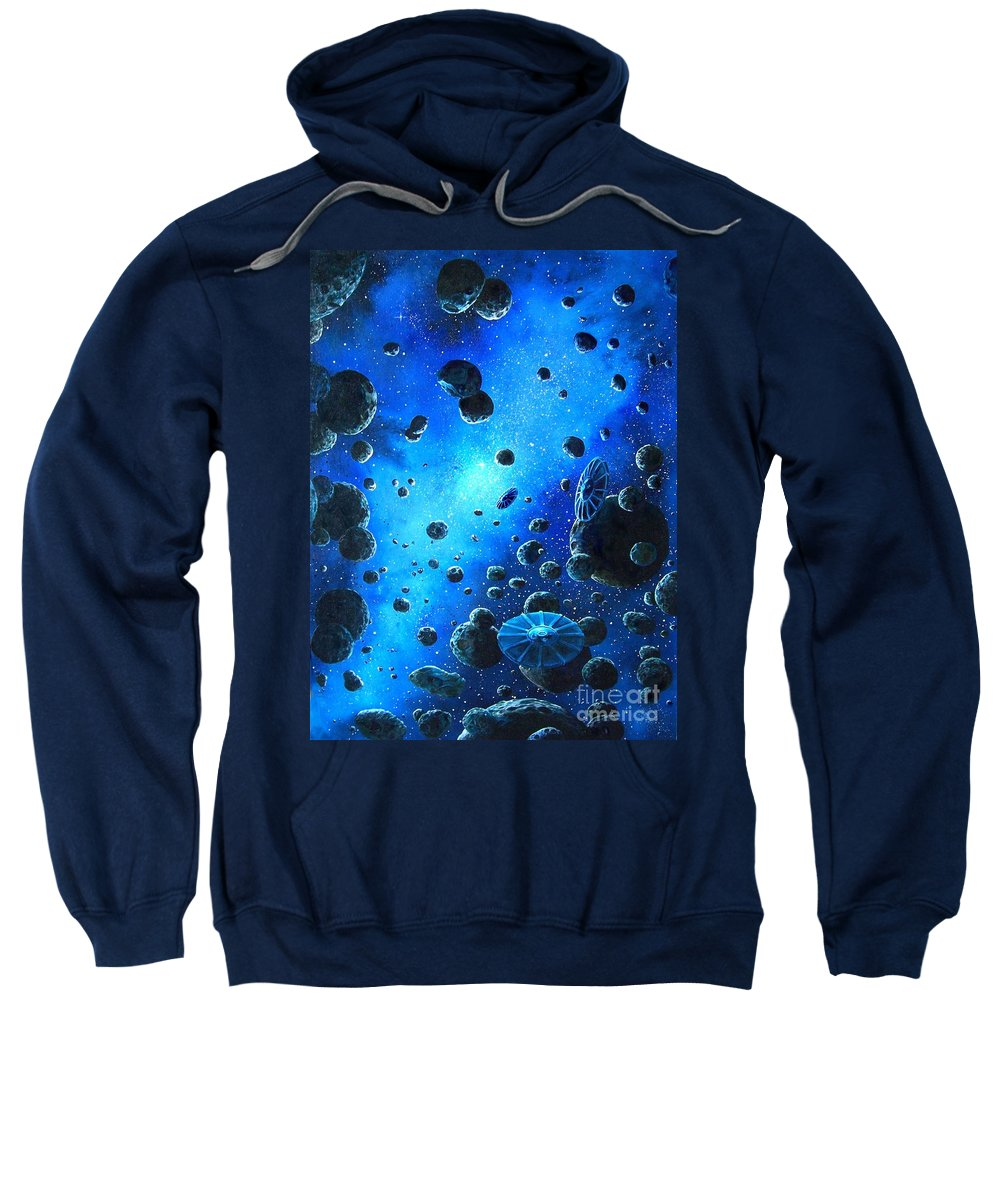 (space Ships) Sweatshirt featuring the painting Alien Flying Saucers by Murphy Elliott