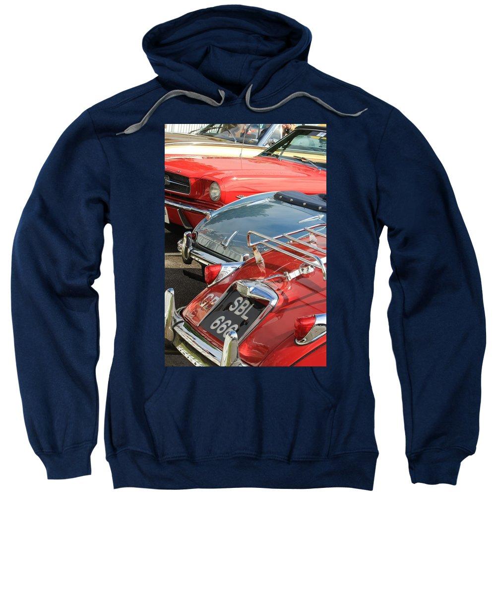 Le Mas Xk 150 Jaguar Sweatshirt featuring the photograph All That Chrome by Robert Phelan