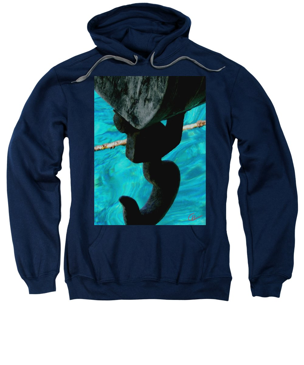 Colette Sweatshirt featuring the photograph Ancher In Water Santorini Greece by Colette V Hera Guggenheim