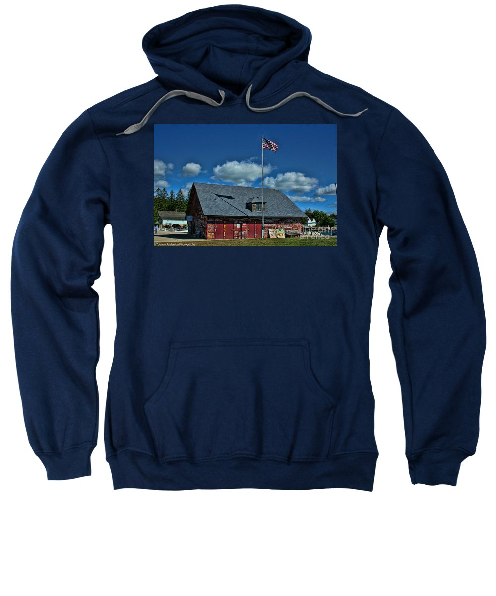 Andersons Dock Sweatshirt featuring the photograph Andersons Dock Door County Wi by Tommy Anderson