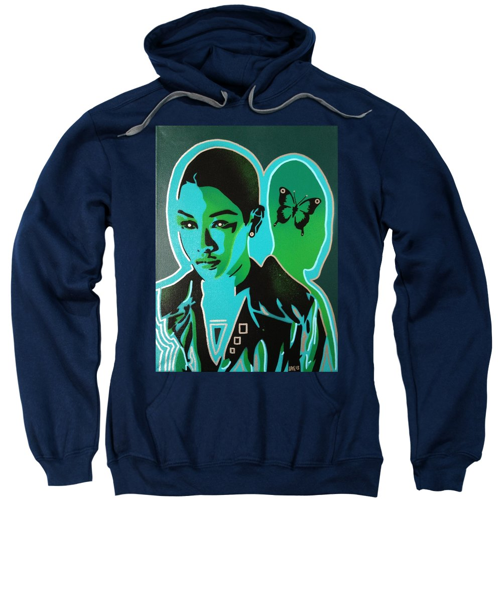 Androids Sweatshirt featuring the painting Android 1 In Greens by Leon Keay