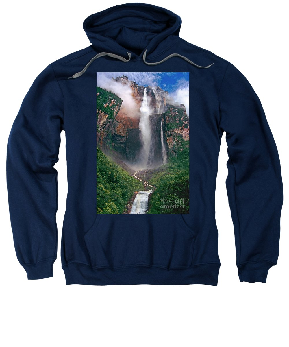 Angel Falls Sweatshirt featuring the photograph Angel Falls In Venezuela by Dave Welling